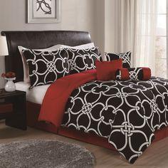 8-Piece Nora Comforter Set | Joss & Main; like the B/W pattern but not the reverse burgundy