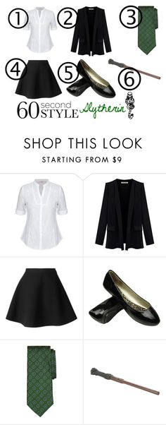 """60 Second Style: Last Minute Halloween Costume - Slytherin"" by misskali ❤ liked on Polyvore featuring MSGM, Brooks Brothers, mark. and 60secondstyle"