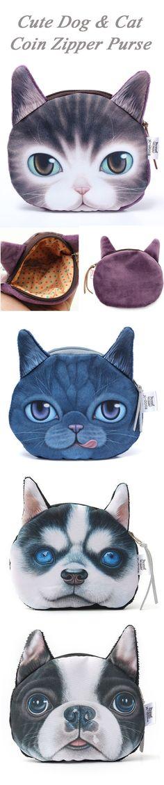 US$3.89  Women Cute 3D Dog And Cat Face Print Coin Zipper Purse
