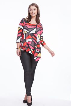 Colorblock Asymmetric Handkerchief Top by Jete   Available in sizes L-XL and 1X-5X
