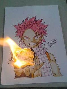 Awesome Fairy Tail artwork. Yes the flames are real.