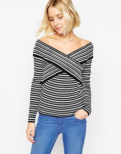 ASOS Jumper In Rib With Off Shoulder Wrap Detail