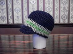CHOOSE SIZE Baby Hat with Brim Navy Blue by MarlowsGiftCottage, $16.00