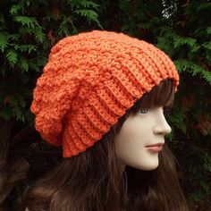 Coral Slouchy Crochet Hat  Womens Slouch by ColorMyWorldCrochet