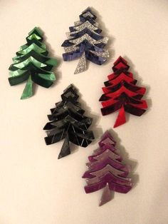 5 Lea Stein Signed Christmas Tree Pins