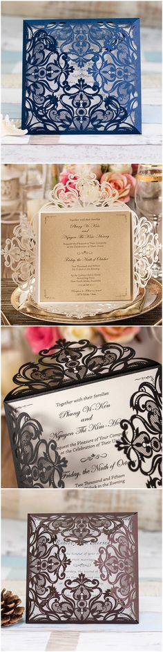elegant laser cut wedding invitations with 4 different colors-navy blue, champagne, black and brown