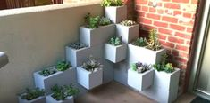 Create your own inexpensive and fully customizable DIY outdoor succulent planter using cinder blocks, landscaping fabric, cactus soil, and succulents Succulent Planter Diy, Succulent Landscaping, Succulents Diy, Planters, Landscaping Ideas, Cinder Block Paint, Cinder Blocks, Garden Paths, Garden Art