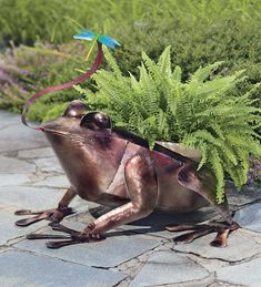 Recycled Metal Frog Planter is sure to steal the show! Perfect with a fern.