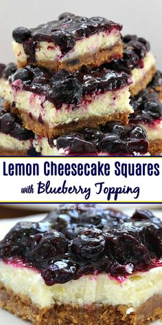 Cheesecake Squares with Blueberry Topping has a graham cracker crust, topped with lemon cheesecake with a blueberry topping.Lemon Cheesecake Squares with Blueberry Topping has a graham cracker crust, topped with lemon cheesecake with a blueberry topping. No Bake Blueberry Cheesecake, Cheesecake Squares, Cheesecake Desserts, Blueberry Recipes, Köstliche Desserts, Lemon Desserts, Dessert Recipes, Desserts With Blueberries, Healthy Blueberry Desserts