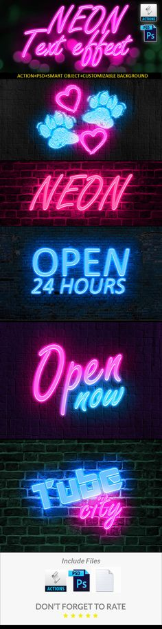 Neon Text Effect for Photoshop. Download here: https://graphicriver.net/item/neon-text-effect/16924431?ref=ksioks