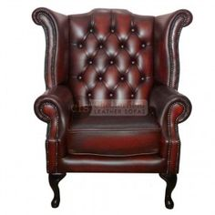Chesterfield Genuine Leather Antique Oxblood Red Queen Anne Armchair