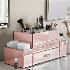 Do you find it impossible to find that lipstick or mascara in your drawers stuffed with piles of cosmetics?. Constructed of MDF wrapped in mirror, the Amara 3 Drawer Tiered Mirrored Cosmetic/Makeup Organizer features 3 pull out drawers in various sizes allowing for easy storage of all your finishing touches. | eBay!