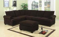 Furniture2go F7133 Chocolate Corduroy Sectional Sofa - Reversible Left/Right Loveseat/Wedge, 3-Seat Sofa, No Ottoman, Assembly Required