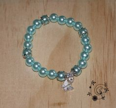 Blue Acrylic beaded Bracelet with by DelightGalleryCrafts on Etsy
