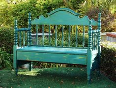 My wonderful hubby, Simon made me another bench! He took an old spindle headboard and worked his magic again. I finished it with a mix of CHALK PAINT® - Florence and Napoleonic Blue. www.MaKandJiLL.com