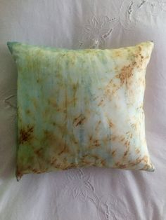 "Decorative Pillow - Silk Habatoi, hand dyed with indigo & rust with a Shibori design technique, 16"" square (P-1) by JanesWillowsDesign on Etsy"
