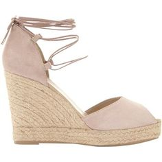 Mint Velvet Hayley Lace Up Wedge Heeled Sandals, Nude