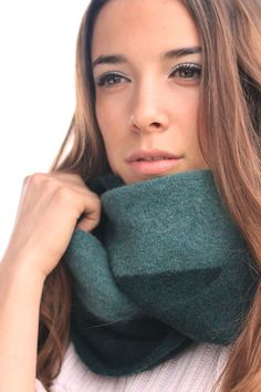 Infinity scarf green striped felted neckwarmer by texturable, $65.00 #cowl #spring fashion # merino wool # trending #warm loop