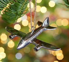 Silver Plane Ornament | Pottery Barn