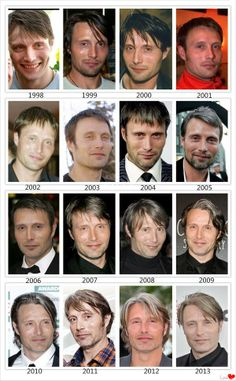 Mads Mikkelsen^^^is it just me or do you see him aging in the top row and then all of a sudden he just stops? Like he changes his hair style and constantly choosing between having a beard/mustache or not, but he doesn't seem to have aged? Hannibal Lecter, Hannibal Cast, Hannibal Series, Hannibal Humor, Hugh Dancy, Will Graham, Sir Anthony Hopkins, Gary Oldman, Michael Fassbender