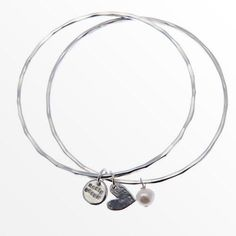 """Rosie Brown Jewellery   Online Shop - Handmade silver and gold collections I have two bangles similar to this. One with a love heart from my hubby and the other with my kid's names. """"These are a few of my favourite things."""""""