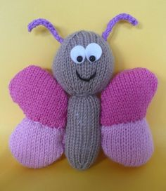 Free Knitting Pattern for Butterfly Softie - This butterfly toy is designed by Amalia Samios Knitted Doll Patterns, Animal Knitting Patterns, Dishcloth Knitting Patterns, Crochet Stitches Patterns, Knitted Dolls, Loom Knitting, Free Knitting, Baby Knitting, Beginner Knitting Projects