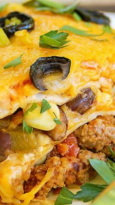 Mexican Lasagna ~ made with layer upon layer of spectacular south-of-the-border flavors. A drool worthy dish with just enough heat to wake up your taste buds
