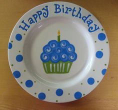 """Ready to ship - Hand Painted 10"""" Ceramic """"Happy Birthday"""" Plate"""