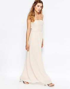 Image 4 ofVila Ruched Bodice Bandeau Maxi Dress