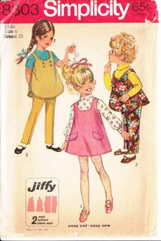 Simplicity 8303 Child's Jumper Dress, Top, Pants Sewing Pattern 6 Uncut