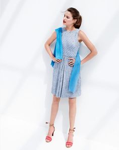 I like this dress!  J.Crew women's chevron-striped dress, ribbed gauze sweater and raffia ankle-tie high-heel sandals.