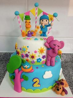. Baby Girl Birthday Decorations, 2nd Birthday Party Themes, Daniel Tiger Birthday Cake, Cake Designs For Girl, Curious George Party, Cupcakes, Fondant Cakes, First Birthdays, Cake Decorating