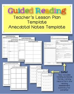 Guided Reading Lesson Plan & Notes Templates for Teachers.  Now includes student schedule forms for independent readers, a running record form and a reading assessment summary sheet to send home to parents. $