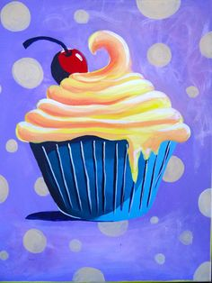 Lemon Cupcake Painting by ChristinaMansour on Etsy, $45.00
