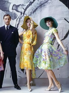 "Marc Bohan with two models wearing his designs for Dior, ""Jardin d'Espagne"" and ""Jardin Anglais"", Spring Summer Collection 1961, photo by Mark Shaw, Paris."