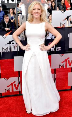 Ellie Goulding looks white hot in a floor length gown!