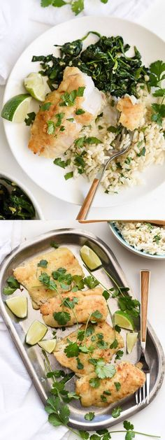 Almond-Crusted Cod with Coconut Rice and Ginger Spinach is a healthy and simple weeknight dinner | foodiecrush.com