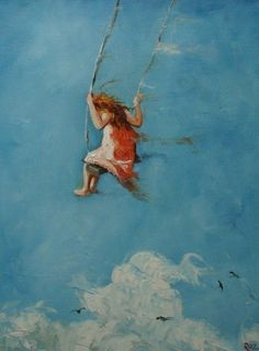 girl on swing art... Lovely!