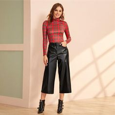 Women's PU Leather Thin Loose Capris | ZORKET | Material: COTTON, Polyester • Length: Calf-Length Pants • Style: Flat, Sexy & Club, Wide Leg Pants • Material: Faux Leather • Type: Zipper Fly, Mid, Solid, Broadcloth