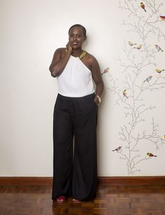 Geek on Fashion Blogger Nelly Mwangi is a wide leg jumpsuit