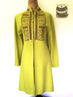Vintage chartreuse light wool coat w hook/eye front enclosure embellished w/ gold sequin and bead front panel. By Boo Gemes. Size Medium