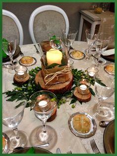 tarde de hadas: Centro de mesa con troncos