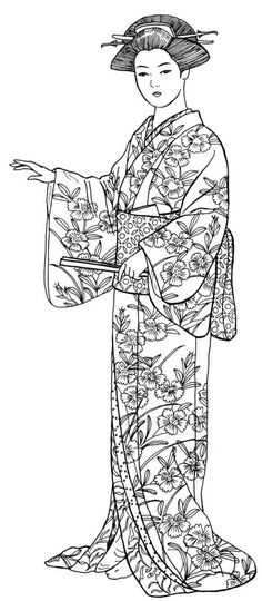 EDO PERIOD: Geisha wearing summer outfit--obi, ornaments and comb in her hair, and fan