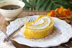 Pumpkin Swiss Roll Cake with Whipped Kahlua Cream Filling