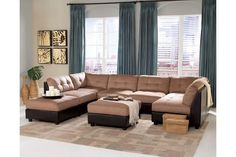 7Piece Claude Two Tone Sectional Sofa Set with Ottomans