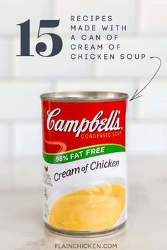 15 Recipes Made with a can of Cream of Chicken Soup - easy recipes made with pantry staples. Pork, beef, and chicken. All of the recipes are super easy to make and use everyday ingredients. I& sure you have most, if not all, of them all in the house now. Cream Of Chicken Soup, Chicken Rice, Chicken Casserole, Crack Chicken, How To Cook Chicken, Tamale Casserole, Cream Of Chicken Gravy Recipe, Chicken Rigatoni, Farmers Casserole
