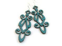 $18 Teal, laser cut leather, filigree earrings