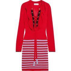 Sonia Rykiel Ruffled striped knitted mini dress (44.010 RUB) ❤ liked on Polyvore featuring dresses, ruffled dresses, stripe dress, lace up front dress, striped dresses and striped mini dress