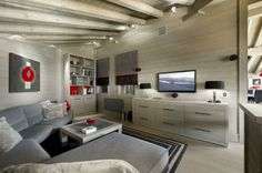Beautiful Chalet Design with Luxury Touch: Awesome Modern Living Room Grey Sofa Chalet In The French Alps Elegant Living Room, Spacious Living Room, Living Room Grey, Living Room Interior, Modern Living, Modern Sofa, Living Rooms, Chalet Design, House Design