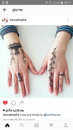 Cute and simple by - Henna Henna Hand Designs, Mehndi Designs Finger, Henna Tattoo Designs Simple, Mehndi Designs For Fingers, Beautiful Henna Designs, Latest Mehndi Designs, Mehandi Designs, Henna Tattoo Hand, Wrist Henna